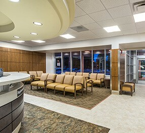 This emergency room waiting area features Kwalu;'s tandem Oslo seating which can be ganged in multiple configurations by adding inline tables. Perfectly designed for healthcare settings, this ganged collection is at home in any hospital emergency waiting room.