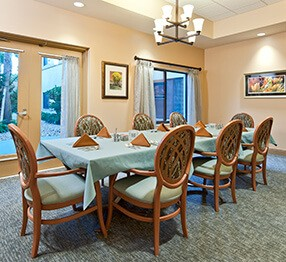 Assisted living private dining room featuring Kwalu's round-backed San Michelle dining chairs with elegant back insert. Ideally suited to fine dining.