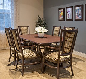 Assisted living fine dining room furniture at its best, featuring Kwalu's stately stately, elegant Tivoli high-backed dining chair.