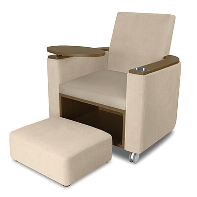 Kwalu's Massari Theater chair with optional cupholder, tablet arm and ottoman is the perfect solution for assisted living theater seating.