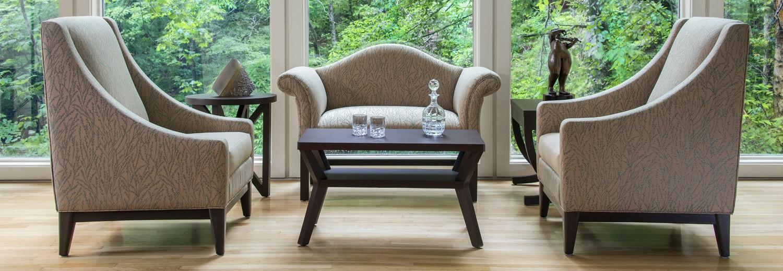 Kwalu Chairs with coffee table
