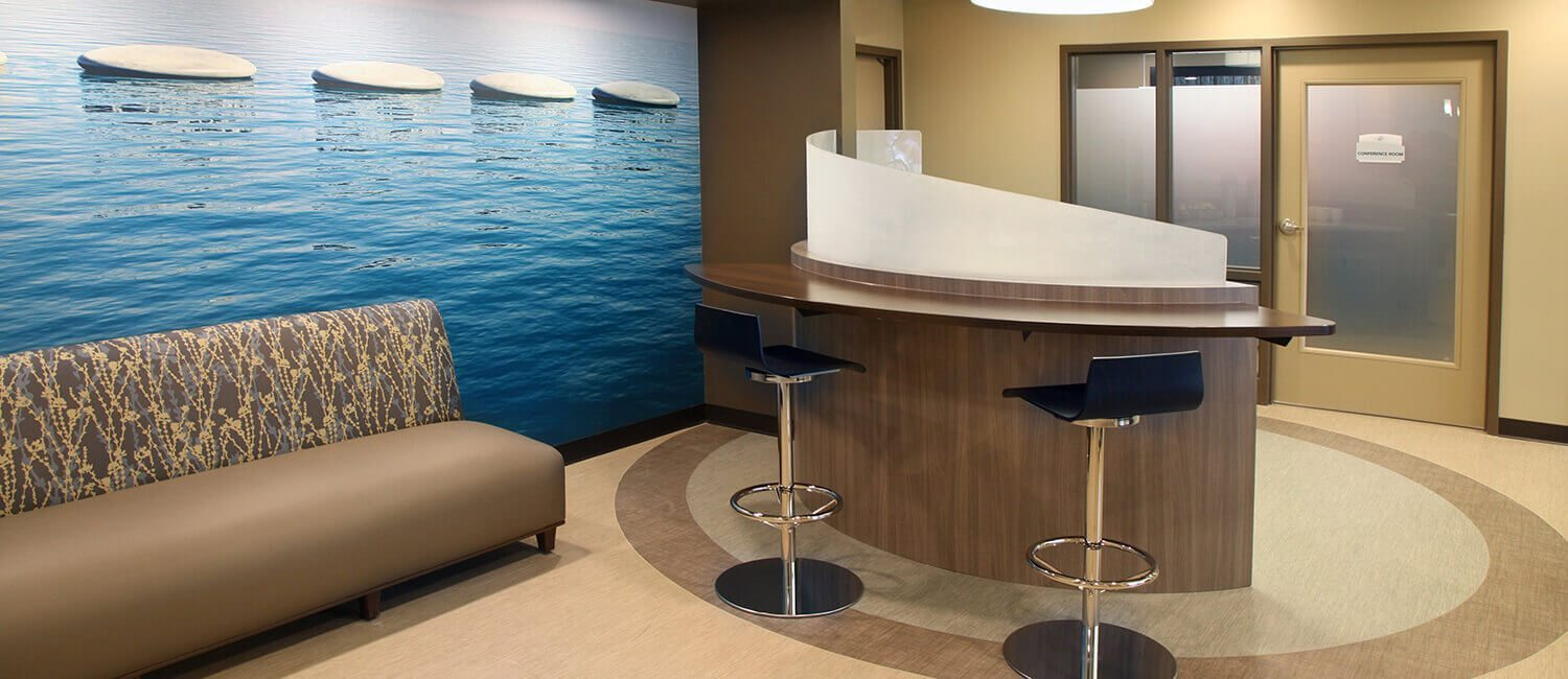 Waiting area furniture and seating designed for patients in behavioral health and wellness environments.