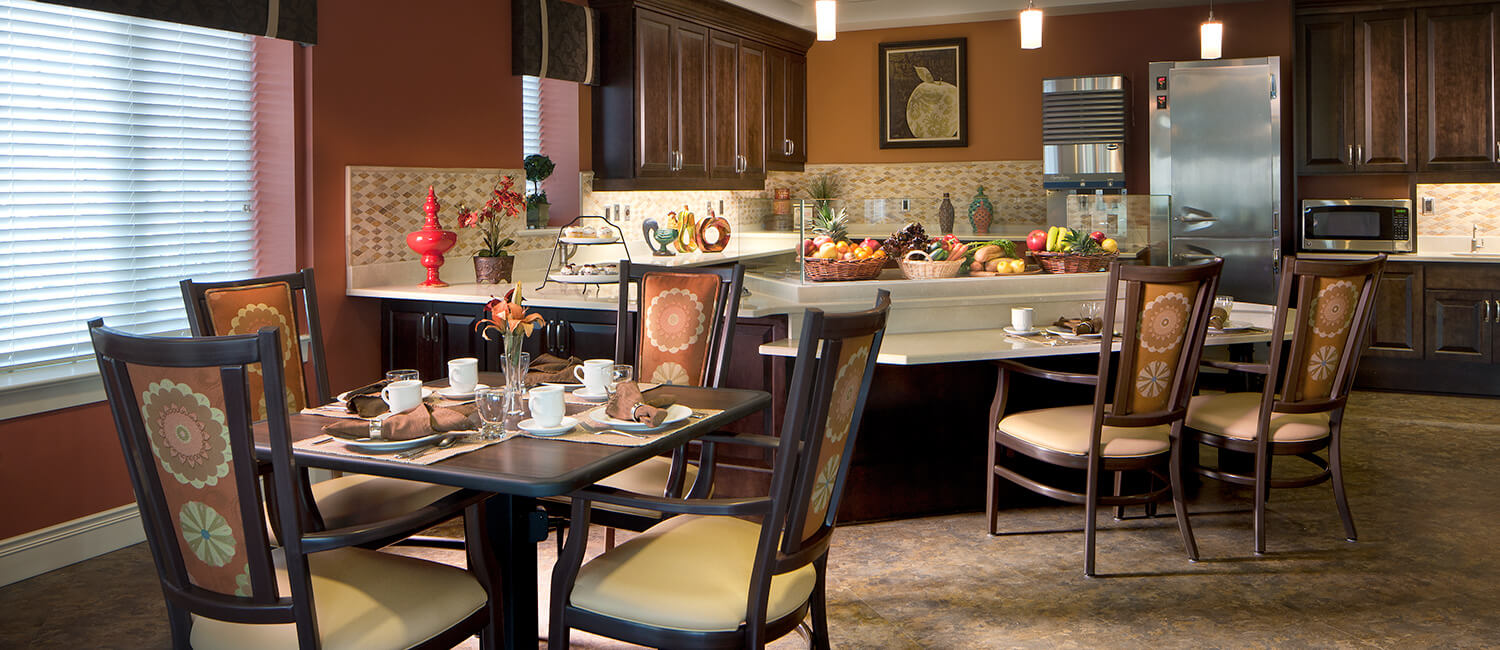 Dining room seating and tables for residents living in continuing care retirement communities.