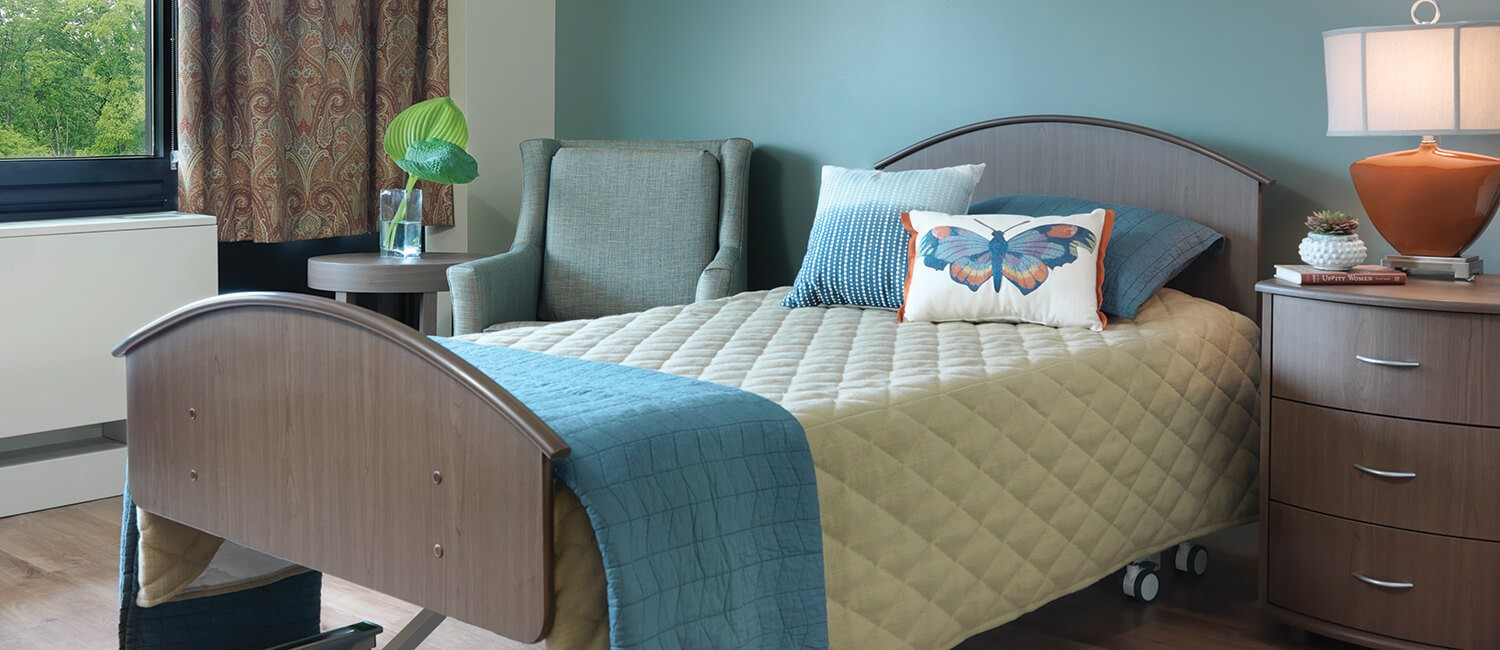 Comfortable and durable bedroom furniture for residents of skilled nursing home environments.