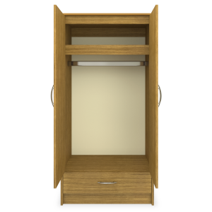 Kwalu product: Atlanta Double Wardrobe, 1 Drawer, 2 Doors