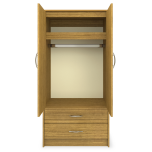 Kwalu product: Atlanta Double Wardrobe, 2 Drawers, 2 Doors