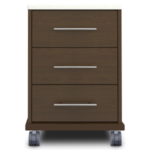 Kwalu product: Auburn Bedside Cabinet, 3 Drawers, with Casters