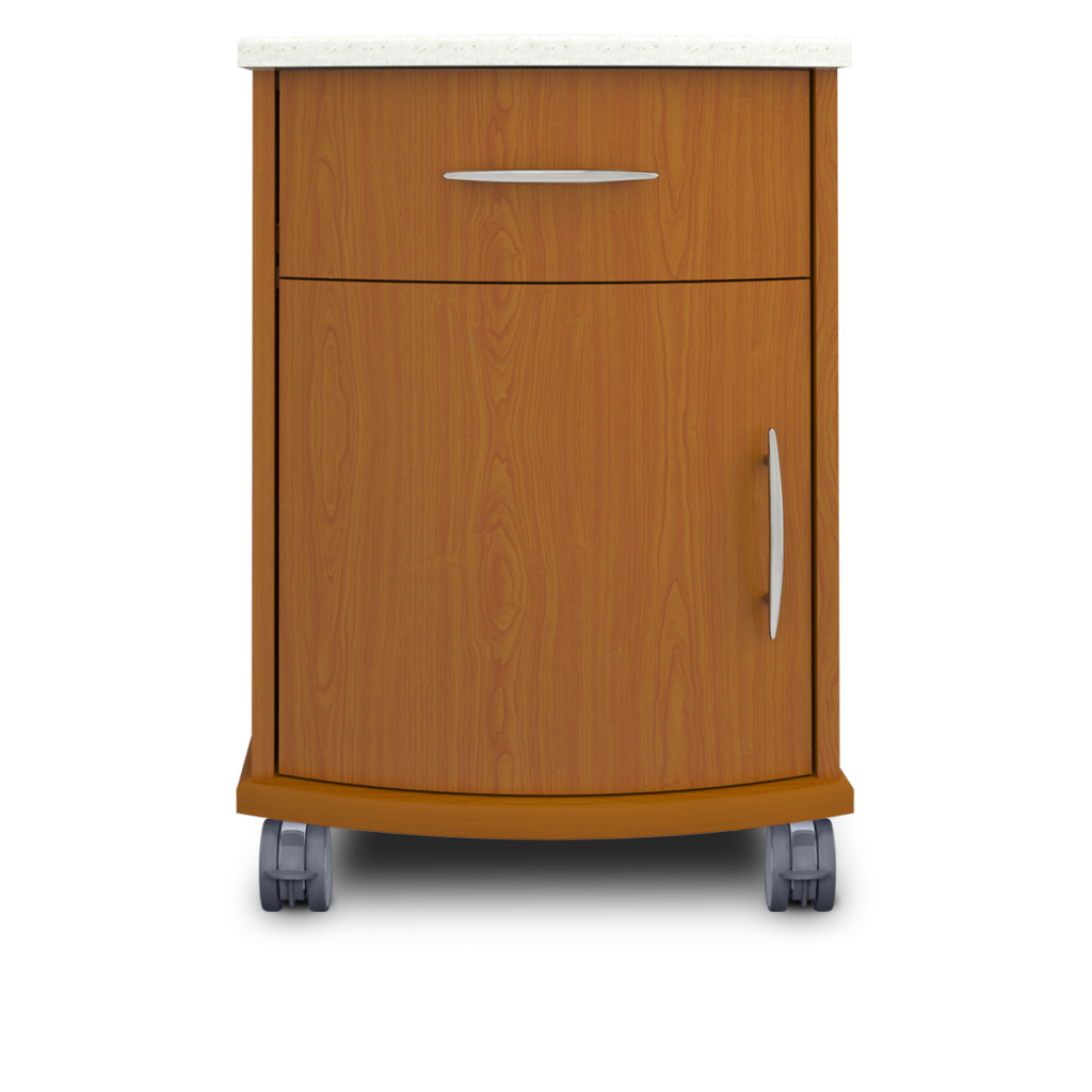 Camelot Bedside Cabinet, 1 Drawer, 1 Door, with Casters - Kwalu
