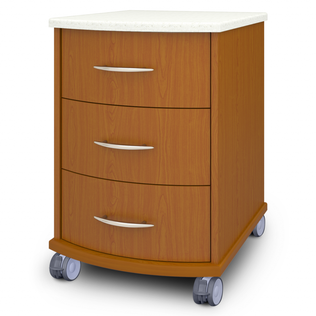 Camelot Bedside Cabinet, 3 Drawers, with Casters - Kwalu