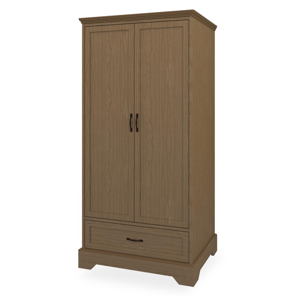 Dorchester Double Wardrobe, 1 Drawer, 2 Doors - Kwalu