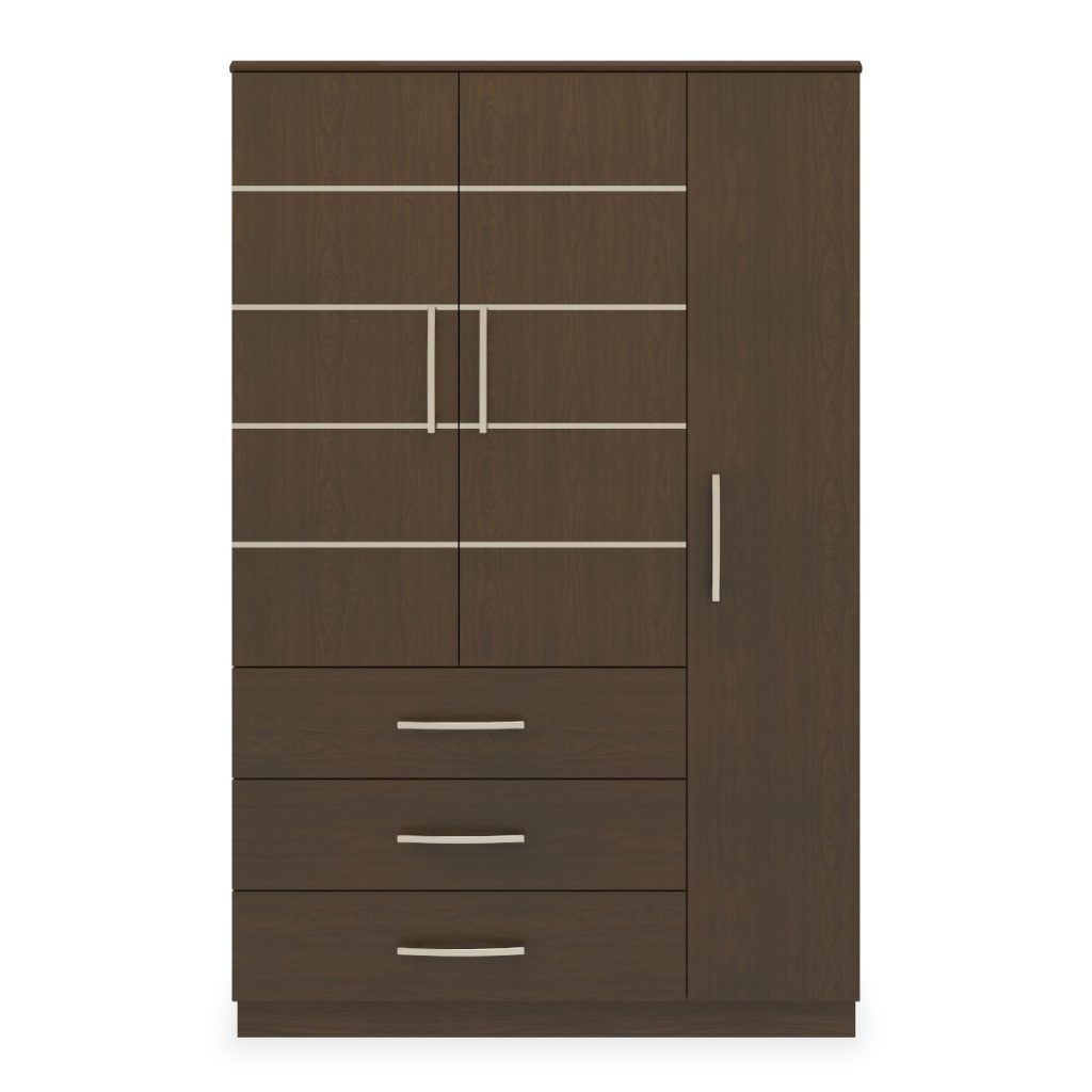 Hollywood Armoire Wardrobe, 3 Drawers, 3 Doors - Kwalu