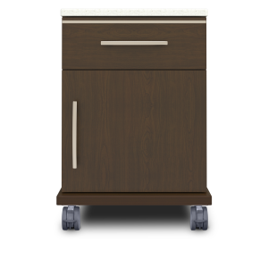 Kwalu product: Hollywood Bedside Cabinet, 1 Drawer, 1 Door, with Casters