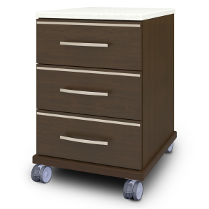 Kwalu product: Hollywood Bedside Cabinet, 3 Drawers, with Casters