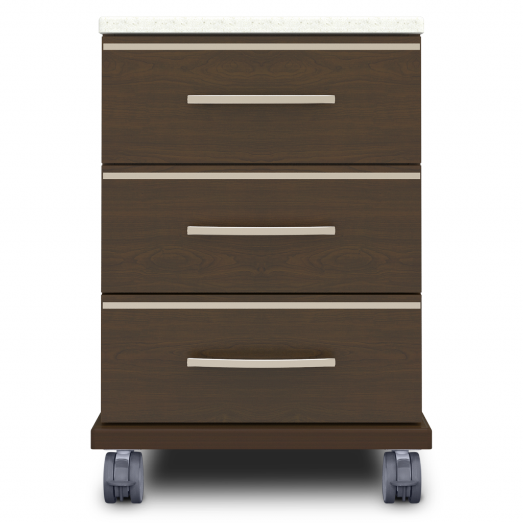 Hollywood Bedside Cabinet, 3 Drawers, with Casters - Kwalu